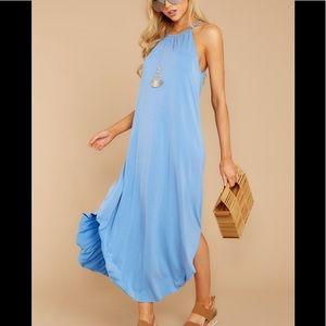 Red Dress Periwinkle Blue High Neck Midi Dress